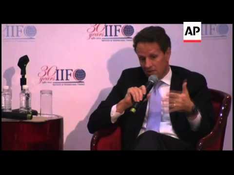 US Treasury Secretary Geithner on European financial crisis