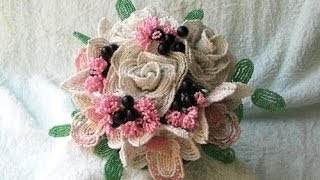 Свадебный букет из бисера. Часть 1. Роза из бисера // Wedding bouquet beaded