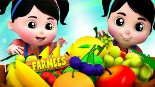 Canção De Frutas   Rimas De Berçário   3D Vídeo Para Crianças   Fruits Song   Farmees Português