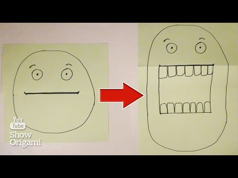 Рисунок игра для детей -  Рисуем рожицу с открывающимся ртом