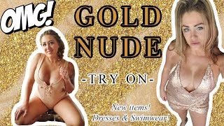 Try On   Bikinis   Dress   Gold Color
