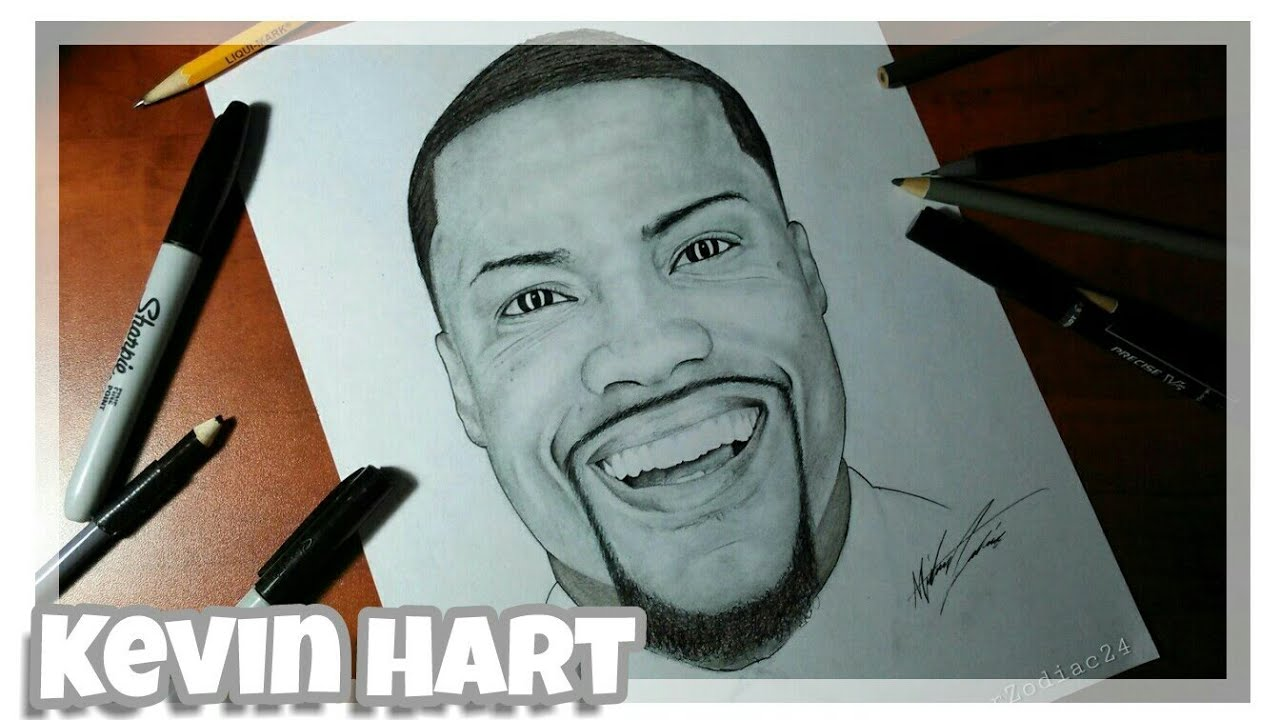 How to draw kevin hart time lapse drawing