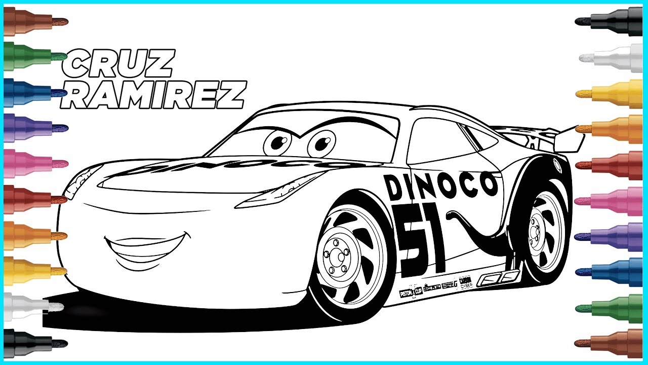 Disney Cars 3 Coloring Pages Cruz Ramirez Youtube