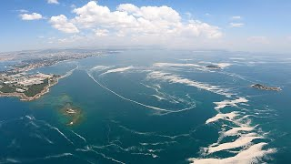 Aerial view of mucilage, also known as sea snot, in Turkey's northwestern coast