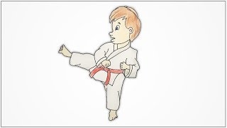 How to draw a boy doing karate step by step