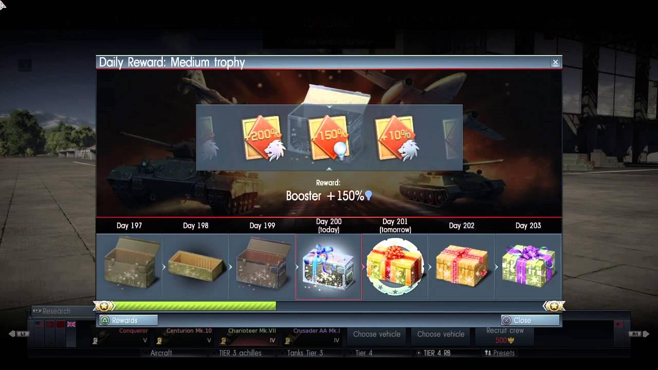 daily rewards war thunder