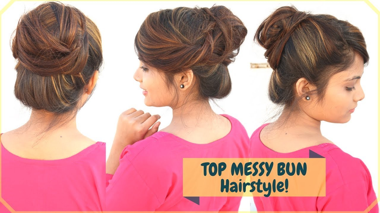 1 Min Top Messy Bun Hairstyle With Fringebangs Styling Easy Indian
