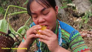 Survival Skills - Smart Primitive Girl Find Fruit Carambola Meet Aboriginal Guy Catch Chicken