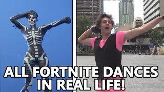 ALL *NEW* FORTNITE DANCES IN REAL LIFE! (Electro Swing, Sprinkler, Headbanger & MORE!)