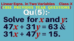 Solve : 47x + 31y = 63 and 31x +47y = 15. || Linear Equations