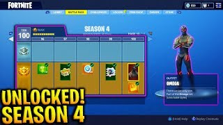 UNLOCKING SEASON 4 BATTLE PASS in FORTNITE! - TUTTI I NUOVI SKINS, EMOTES! (TUTTI 100 TIERS UNLOCKED)