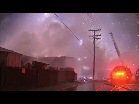 Explosions Fill Sky As Magnesium Fueled Fire Burns In East Los Angeles