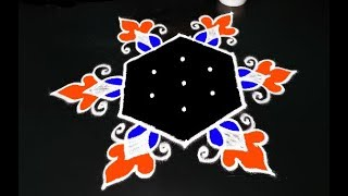colourful rangoli for new year || creative designs || easy kolam || muggulu image || S2 kolam