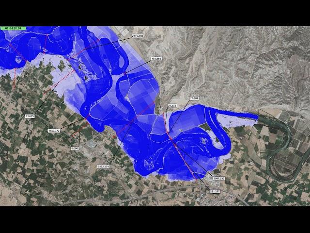 Simulación avenida objetivo  Tramo 8 (Cabañas de Ebro) con periodo de retorno de 25 años