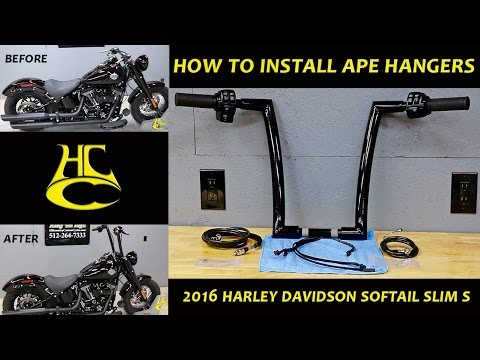 Guidon Ape Hanger Slim 14 pour Harley Sportster 883 Iron// Low// Superlow chrome