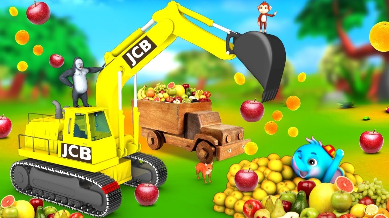 Funny Monkey and Elephant Fruits Loading with Giant JCB Truck | Funny Animal Comedy Videos 3D Videos