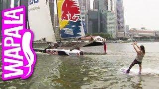 Wakeboard tracté par un catamaran Extreme Sailing Series à Singapour