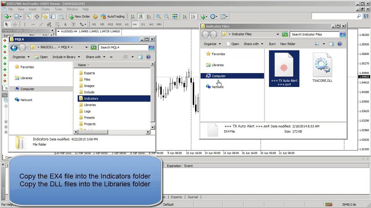 How to install indicators into Metatrader 4 (MT4) on Windows computers