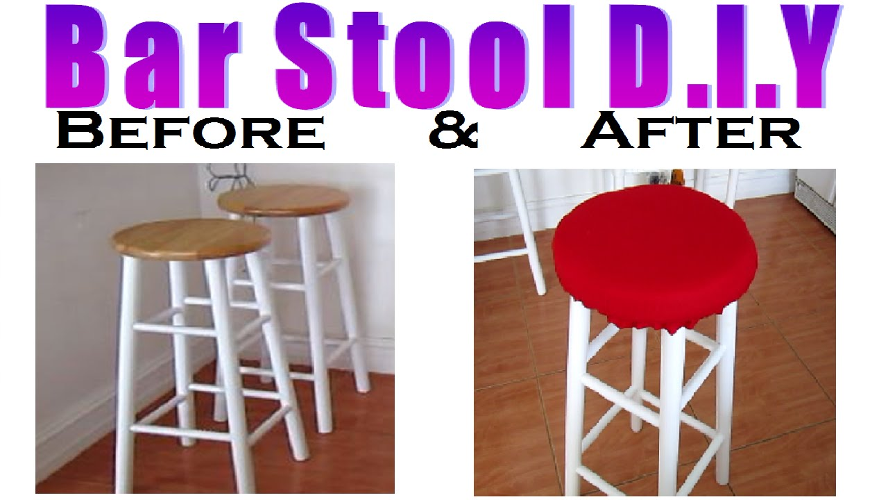 How Much Fabric To Cover A Chair Cushion Modern White Recover Bar Stool With D I Y Youtube