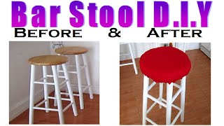 How to Recover A Bar Stool with Fabric (D.I.Y)
