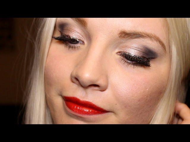 ☆Nyårssminkning☆ Lila sotning & Glitter eyeliner - (Budgetmärken)