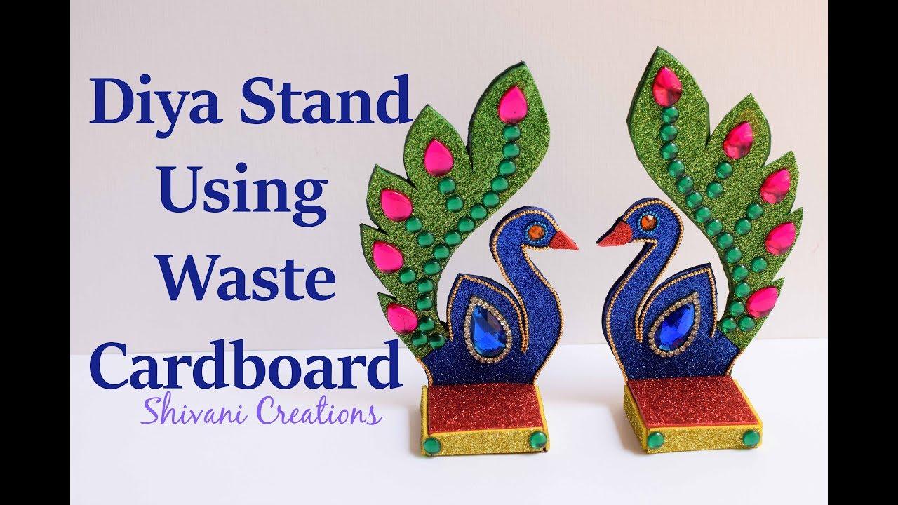 Handmade peacock lamp stand using waste cardboard diy for Diya decoration youtube