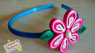 DIY - Paper quilled hair band, Easy paper quilling flower tutorial