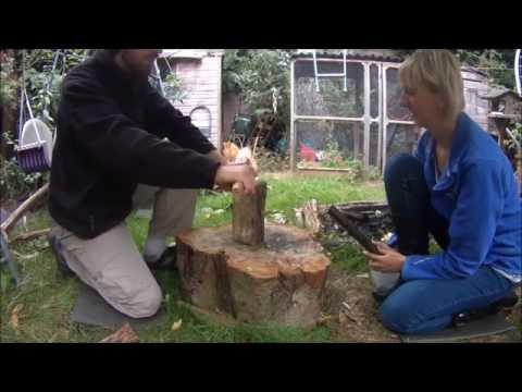 Splitting Wood Using a Billhook the Forest School Way