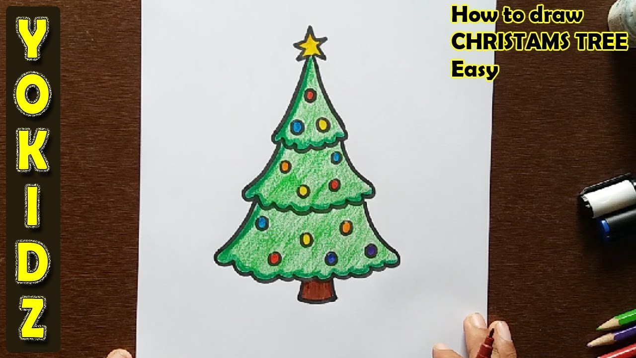 How To Draw A Christmas Tree Easy Youtube