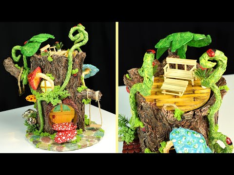 ♡ DIY Log Fairy House WITHOUT CLAY !! Paper Mache Tutorial  ♡