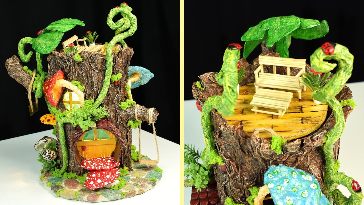Diy Log Fairy House Without Clay Paper Mache Tutorial
