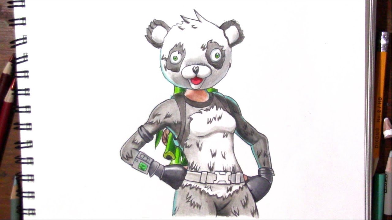 Drawing Panda Team Leader (Fortnite) - YouTube