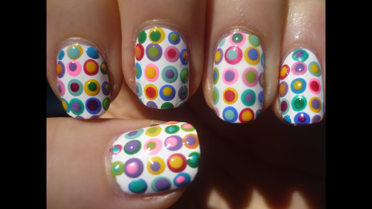 Girly Polka Dot Nail Art Tutorial (Part 1) - YouTube