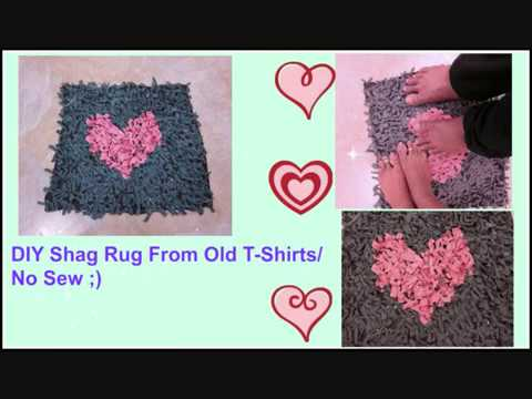 How To Make A Shag Rug Door Mat Table From Old T Shirts No Sew