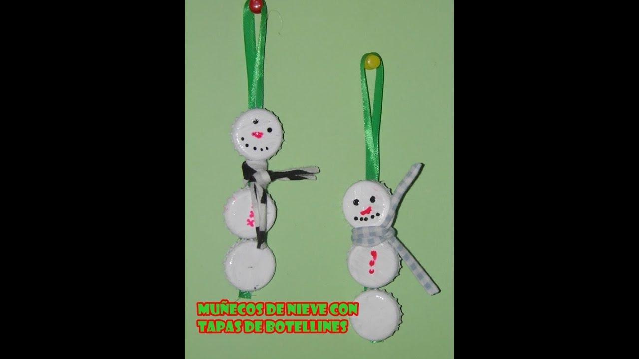 Decoraci n navide a mu eco de nieve reciclando tapas de for Figuras de nieve navidenas