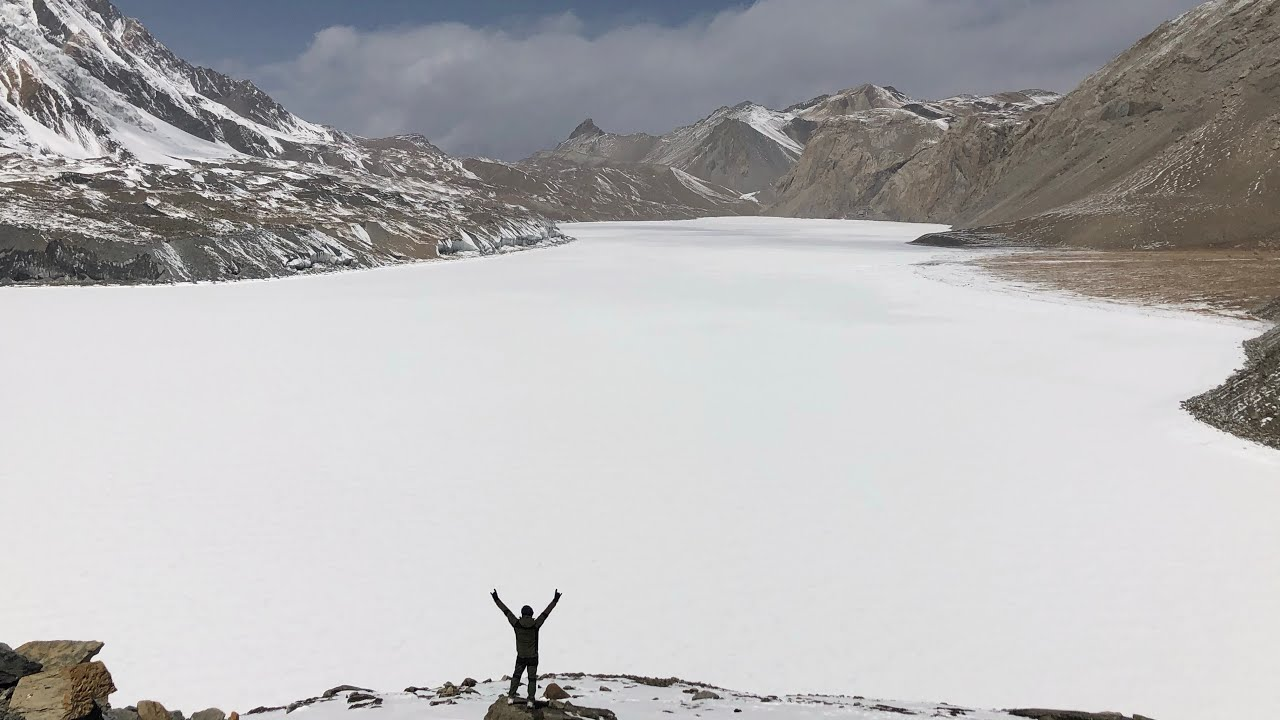 Download Tilicho lake frozen at 4919m Manang Day 4