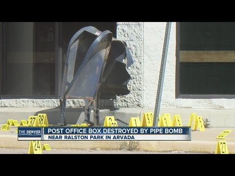 Post office box destroyed by pipe bomb