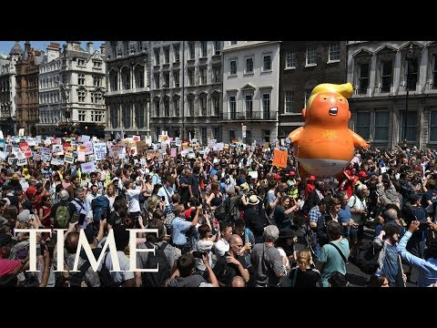 Protesters Gather In London To March In Protest Of President Trump