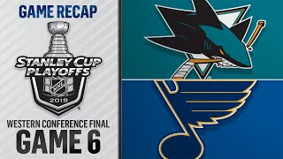 Blues defeat Sharks, advance to Stanley Cup Final
