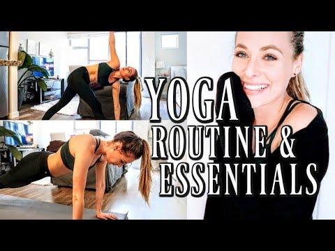 YOGA ROUTINE + ESSENTIALS | YogaClub Fitness Subscription Box Review