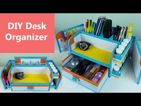 A stylish and compact DIY desk organizer/ drawer organizer out of cardboard.