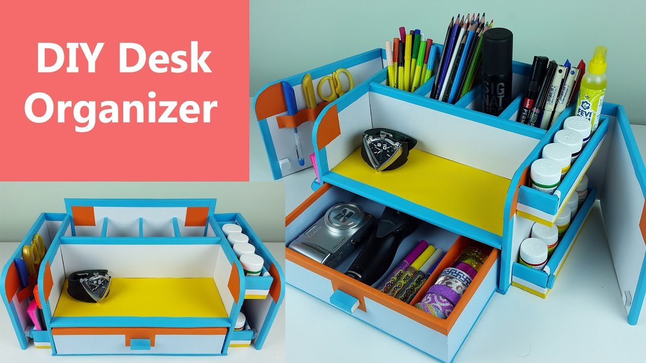 A Stylish And Compact Diy Desk Organizer Drawer Out Of Cardboard