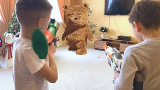Nerf Game Teddy bear vs kids 2 Нерф Игра Плюшевый против детей 2