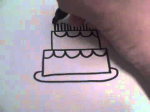 Как нарисовать простой торт