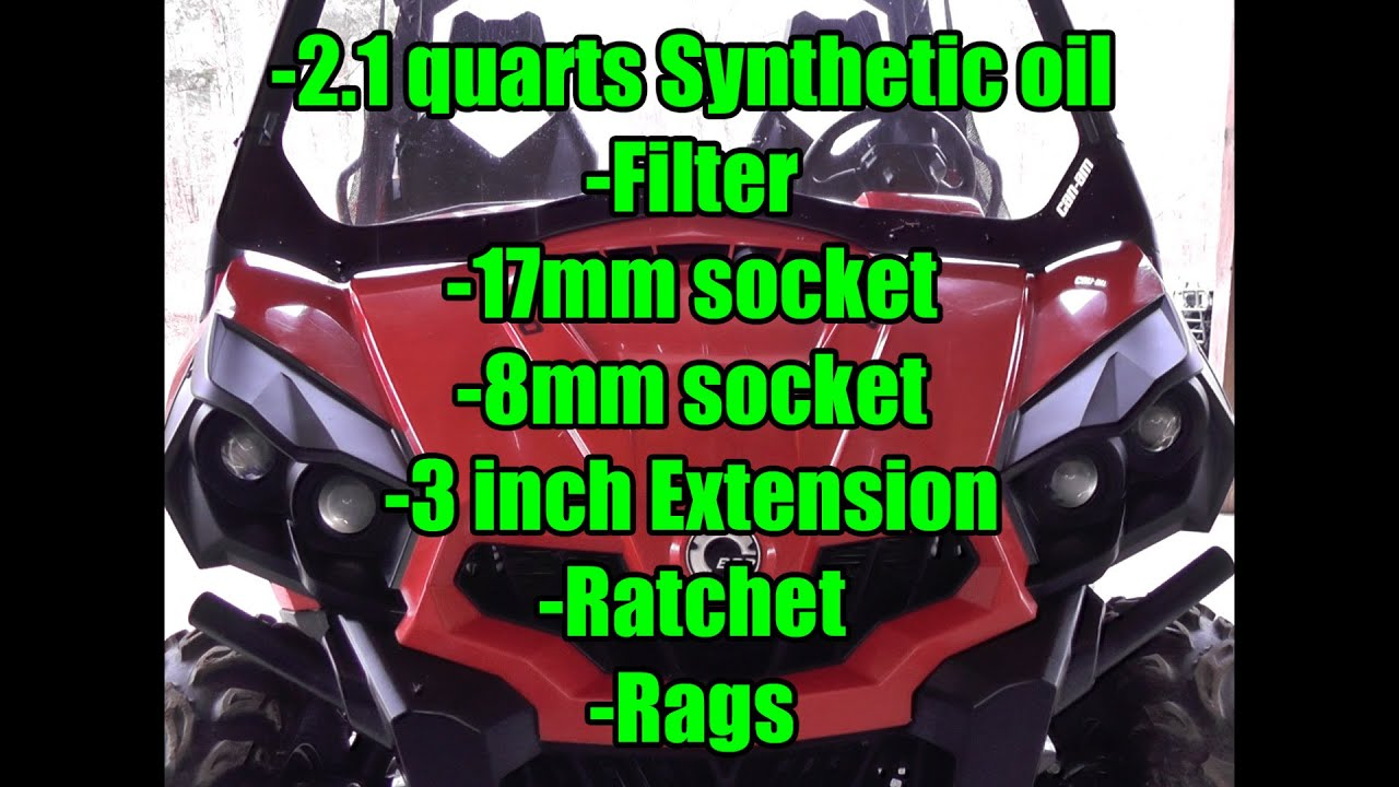 Can Am Commander 800r Xt Or 1000 Oil Change 21 Quarts Full Ninja 650r Engine Diagram Synthetic 5w 40 Filter