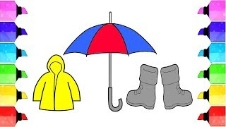 Learn color DIY How to Draw Raincoat Umbrella and Boot Coloring Gillter | Drawing Extra