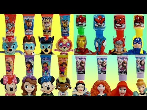COMPILATION BATH Paints, Products: Paw Patrol, Disney Princess, Superheroes, Learn Colors / TUYC
