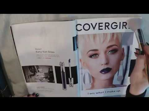 ASMR Katy Perry Magazine Flip Through With Juicy Gum Chewing and Make Up Brush.