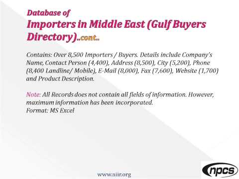 WORLD IMPORTERS BUYERS LIST DIRECTORY DATABASE