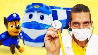 Видео про игрушки из мультфильмов Роботы поезда и Щенячий патруль. Больница для игрушек